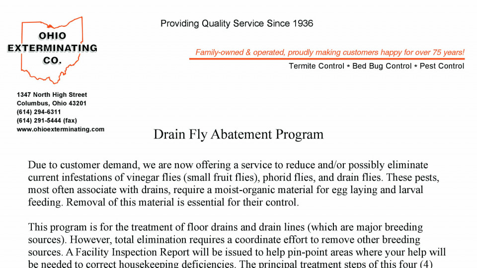 Drain Fly Prep Sheet